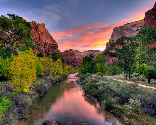 The Grotto from the Virgin River in Zion National Park