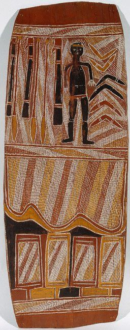 Figure with boomerangs, spears and spear throwers, (circa 1960) by Binyinyuwuy