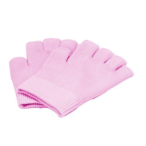 Queentools Gel Cotton Moisturizing Gloves Half Finger Touch Screen Gloves Moisturizing Vitamin and Oil Infused Against Dry Hard Cracked and Rough Hands Fingers Color Pink -- Want additional info? Click on the image.