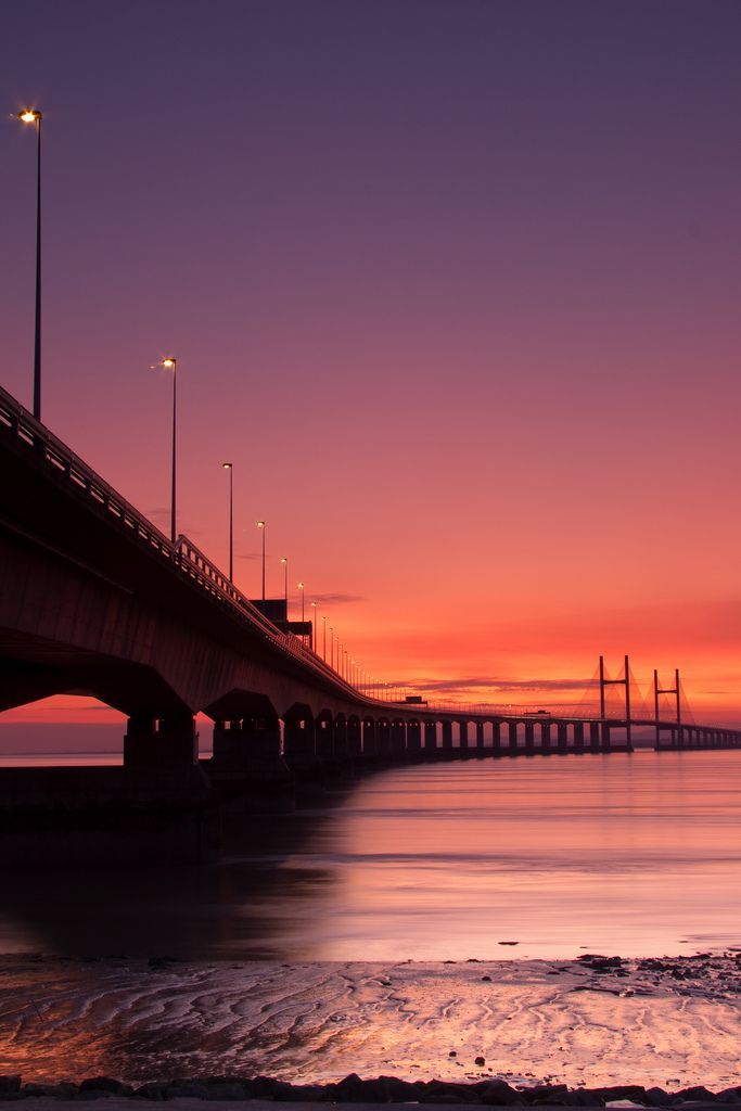 "breathtakingdestinations: ""  Severn Beach - England (by Graham Duerden) "" Sunset over England"
