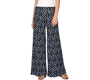Lisa Rinna Collection Regular Ikat Printed Palazzo Pants