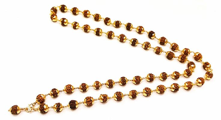 Brand New Pure 1 Gram Gold Plated 54 Real Rudraksha Long Mala/Chain Length 20""