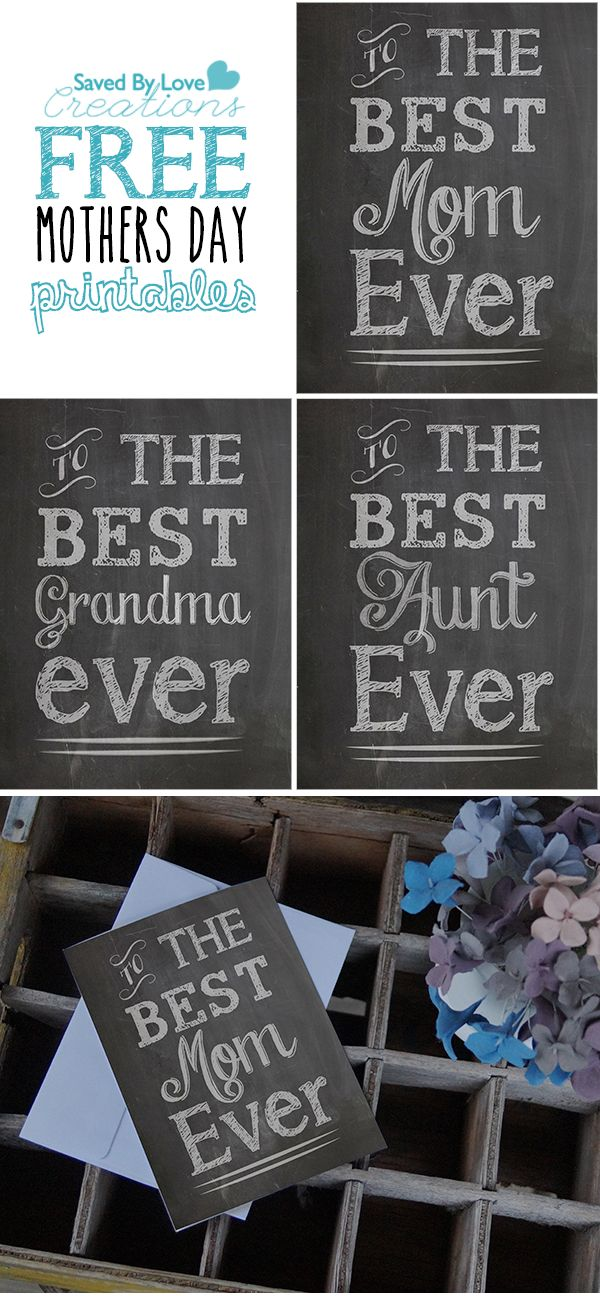 Mother's Day Free Printable Chalkboard Cards by @savedbyloves