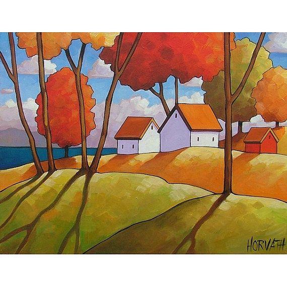 ORIGINAL PAINTING Abstract Folk Art Ocean Tree Shadows Modern Autumn Landscape Colorful  Fall Artwork by Cathy Horvath Buchanan 14x18