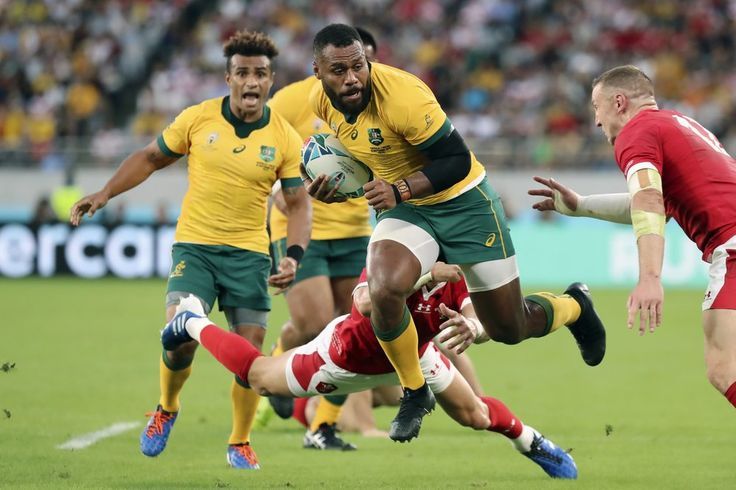 Australias samu kerevi is tackled during the rugby world