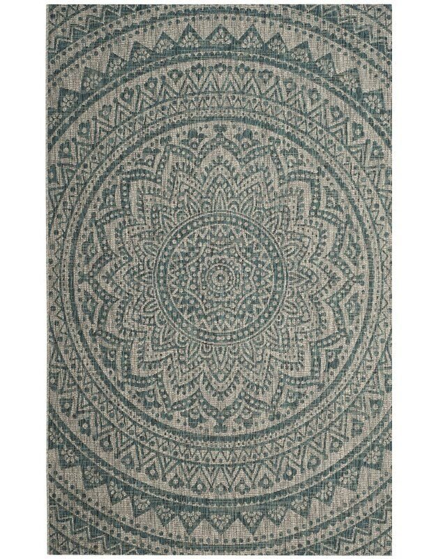 Amedee Floral Power Loom Teal Indoor Outdoor Area Rug Outdoor Carpet Indoor Outdoor Carpet Blue Grey Rug