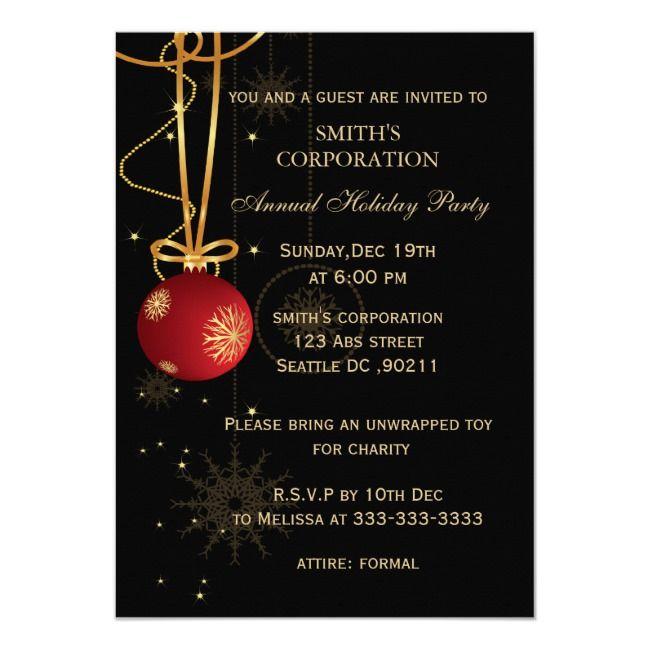 Elegant Corporate Holiday Party Invitations Zazzle Com
