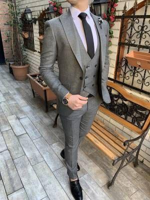 223ed978f08a5 Terziademaltun - İtalyan stil slim fit ceket yelek pantolon açık gri takım  elbise T3205