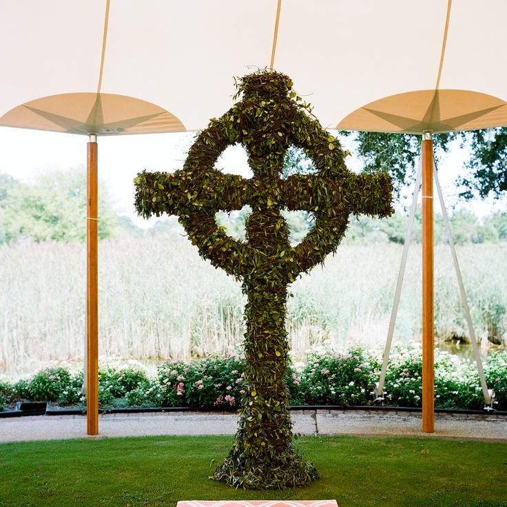 Cross Wedding Altar Flowers: Smilax Episcopalian Cross-altar Decor