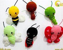 Broche Bichos Kawaii Fieltro  - abeja, gusano, mariquita (bichito de luz), mariposa, hormiga o libelula
