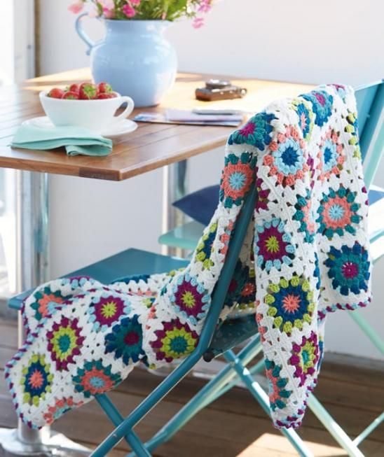 Bon Granny Decke, S8790 #SunCityWolle. Häkeln DesignsZuhauseStricken ...