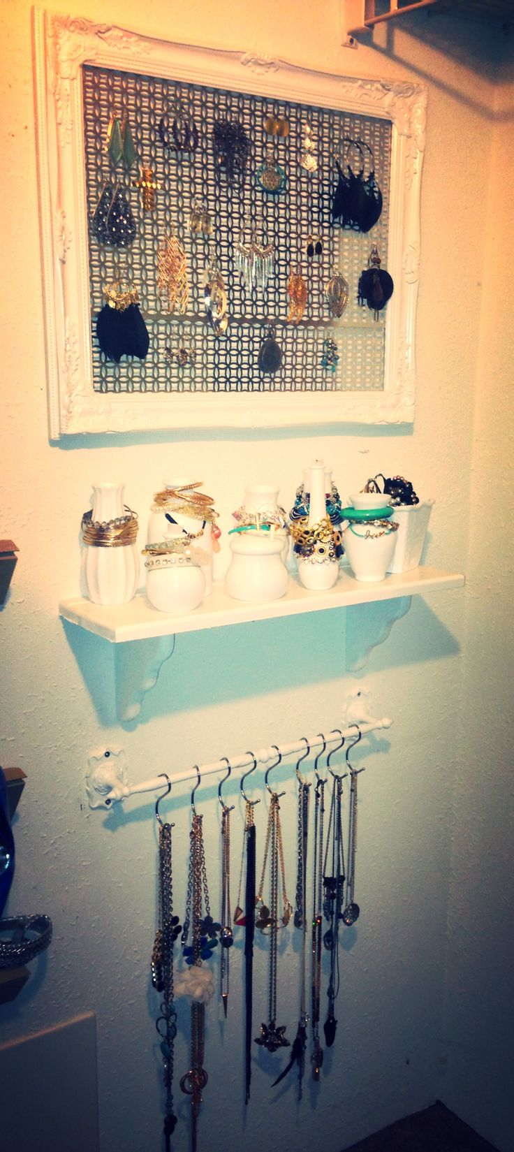 Jewelry storage-kinda pretty, but I think I need more space....not sure how I feel about the jars for bracelet holders...