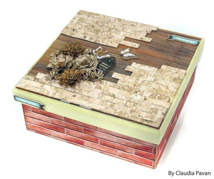 caixa decorada com papéis com texturas