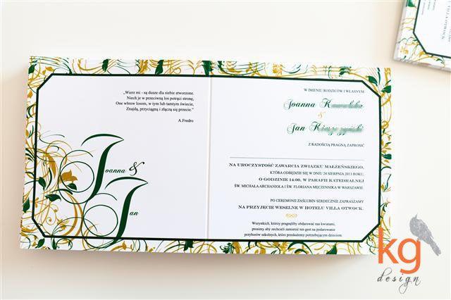 zaproszenie na ślub z ornamentem, szmaragdowo-złote