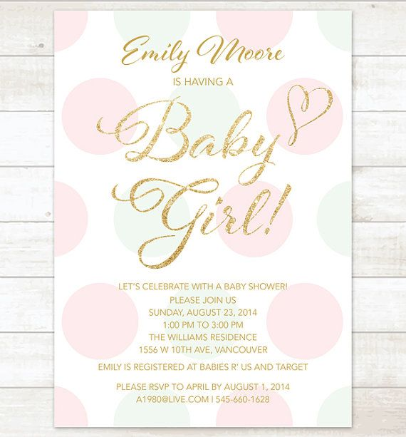 pink mint gold baby girl shower invitation by pinkdahliaprintable