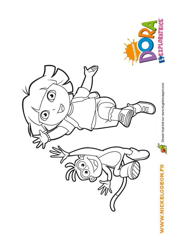 Coloriage de Babouche et de Dora très joyeux et s'apprêtent pour de nouvelles aventures