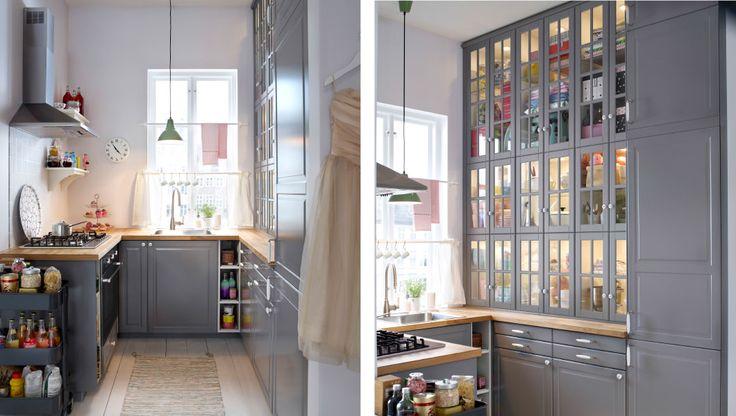 O bucătărie cu fronturi de sertar BODBYN gri, uşi şi uşi de sticlă