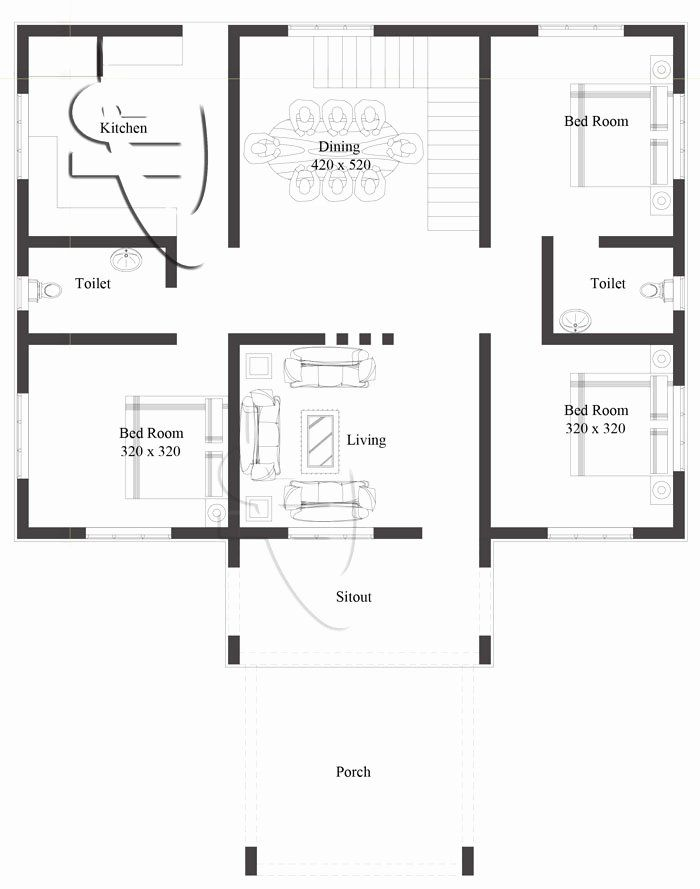 Three Bed Room House Plans Lovely Modern 3 Bedroom E Story House Plan One Storey House Modern House Floor Plans Single Story House Floor Plans