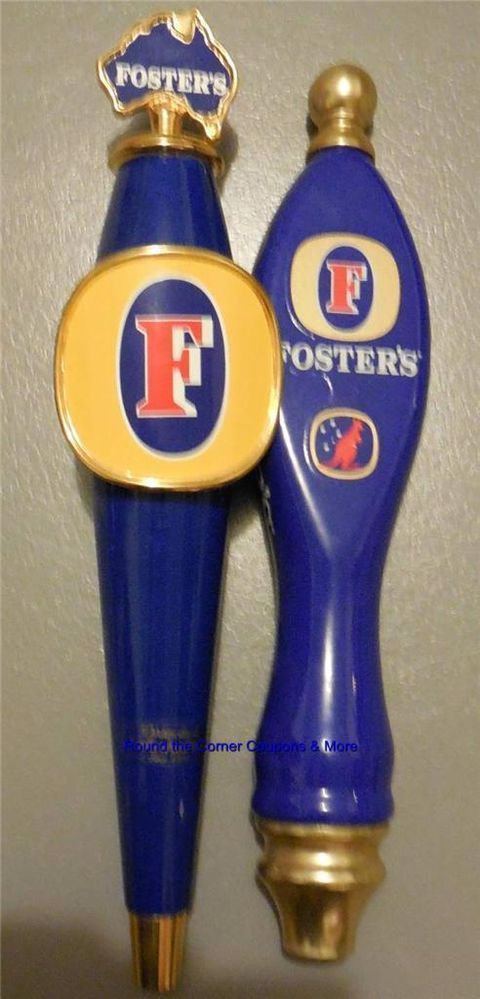 Lot Foster's Beer Keg Tap draft Handles 2 Used Pub Two-sided Australian Fosters