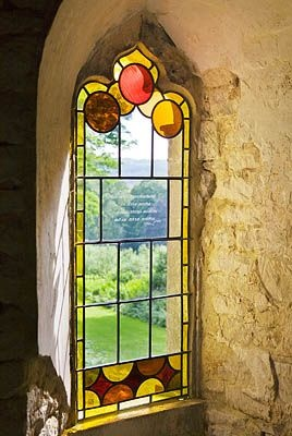 architecture & windows WoW - stained glass window in Painswick Rococo Garden, Gloucestershire