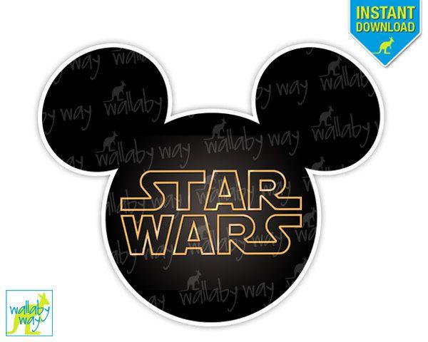 Disney Star Wars Mickey Head Printable Iron On Transfer or Use as Clip Art - DIY Disney Shirt, Star Wars logo, Star Wars Shirt, Download by TheWallabyWay on Etsy