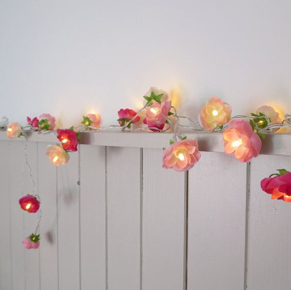 Pretty in Pink Fairy Lights, Rambling Roses String Lights in Patisserie Pink, Blush and Hot Pink,  Garland Flower Lights