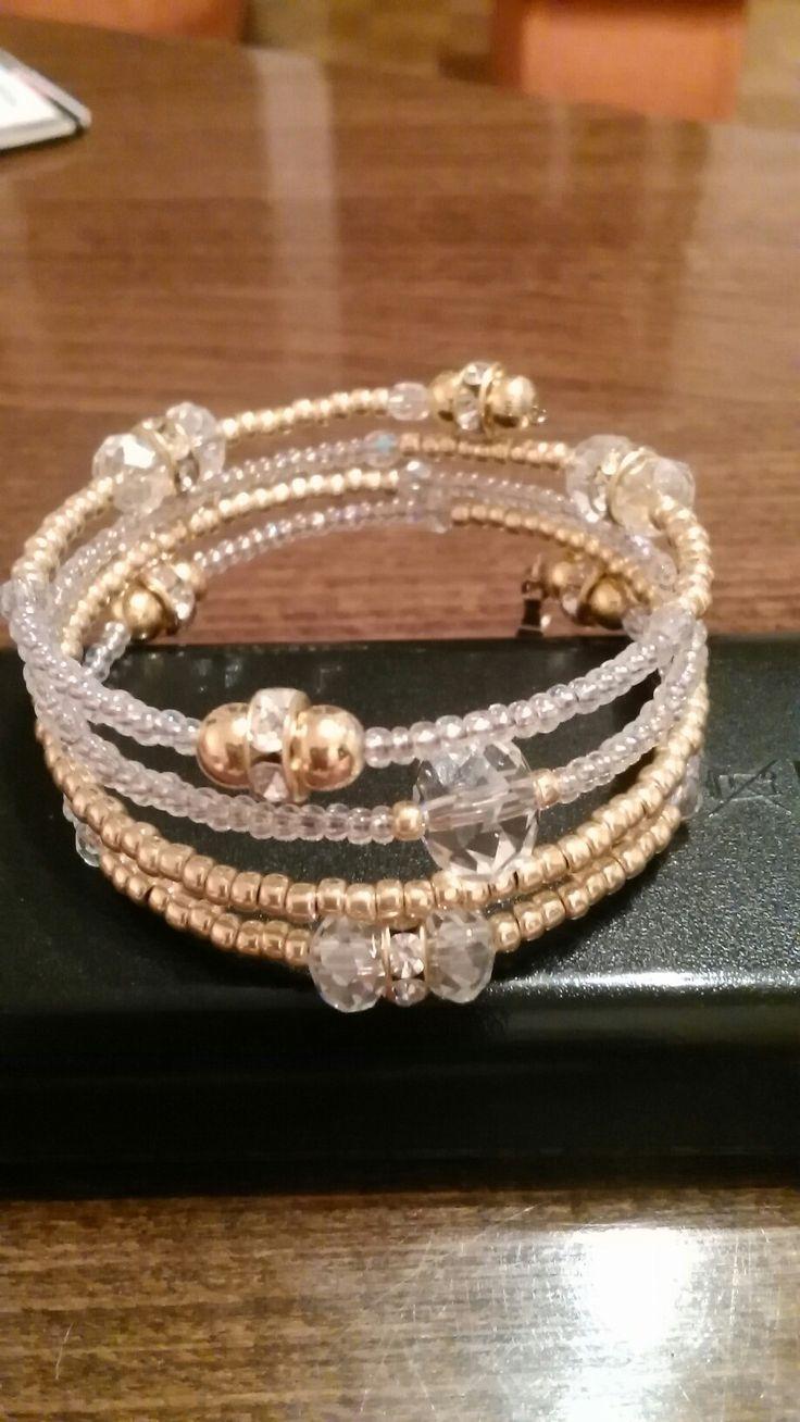 Náramok TOHO white AB,gold AB,memory wire bracelet
