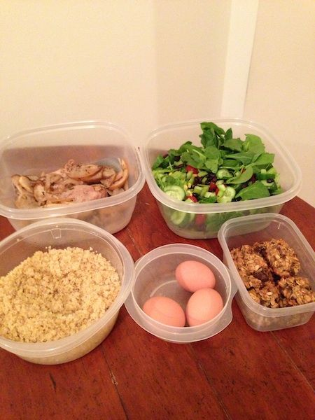 Spinach salad Quinoa Porkchops with sliced Asian pears and onions Hard boiled eggs Banana oat cookies (1 c. Rolled or quick oats, 2 bananas, Handful of chocolate chips if desired. Mash banana and oats together and spoon on nonstick cookie sheet and cook 15 minutes at 350F)