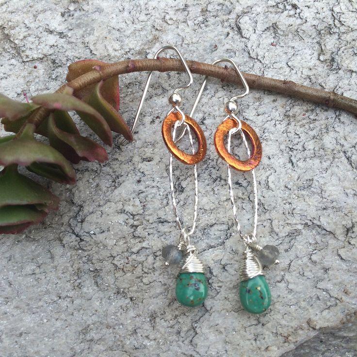 Double Stone Dangle Earrings