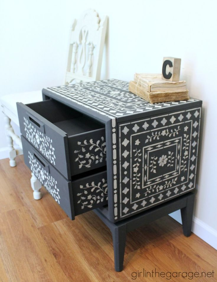 Faux Indian Inlay Furniture | Graphite Chalk Paint® Base With Stenciling In  Country Grey |
