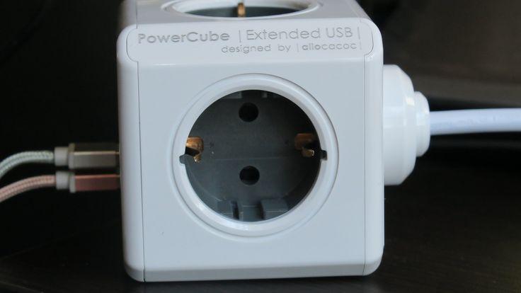 Priza PowerCube Allocacoc 1402GY cu 2 porturi USB de mare putere