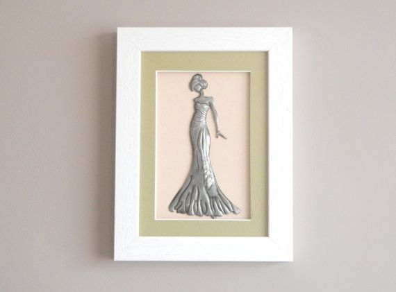 Framed art fashion pewter evening gown by Loutul on Etsy, £18.00
