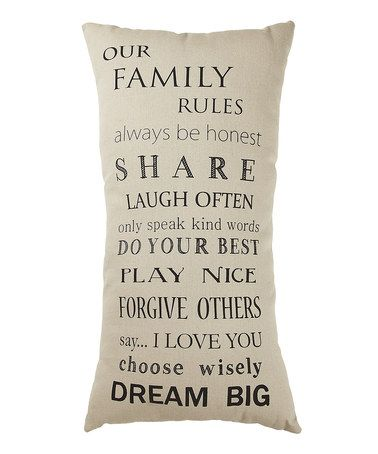 Take a look at this White 'Our Family Rules' Pillow by Collins on #zulily today!