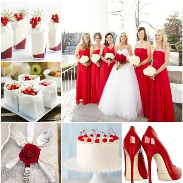 Red and white wedding inspiration - perfect for Christmas weddings!