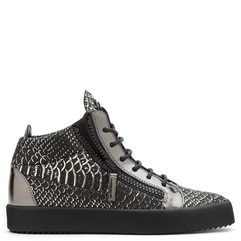 Giuseppe Zanotti Mid Tops - BRAYDEN - Men's Grey Sneakers