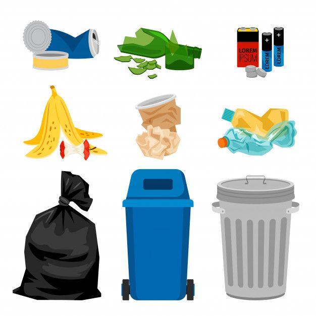 Trash Set With Garbage Bins Premium Vect Premium Vector Freepik Vector Paper Cartoon Metal Bag Garbage Bin Rubbish Bag Trash
