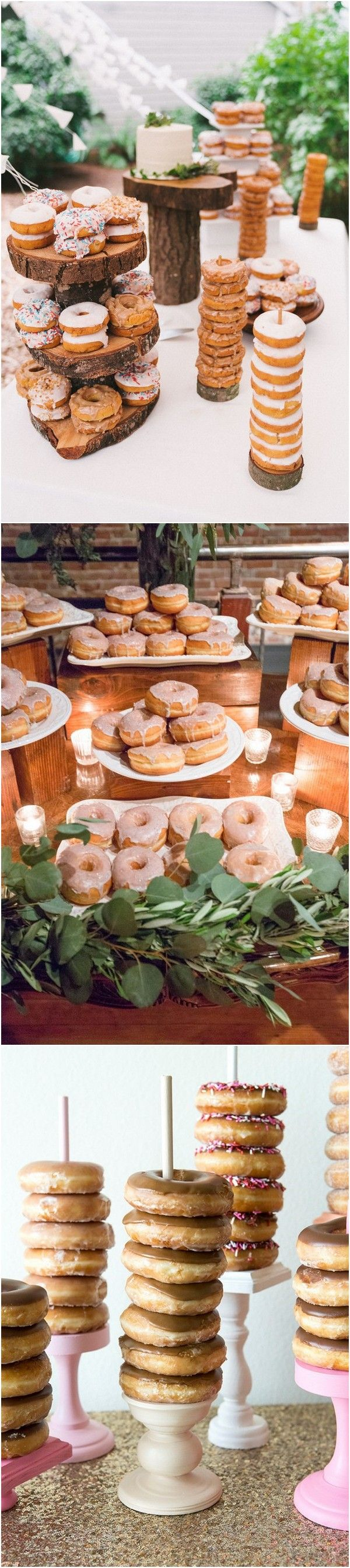 rustic wedding dessert table ideas with donuts