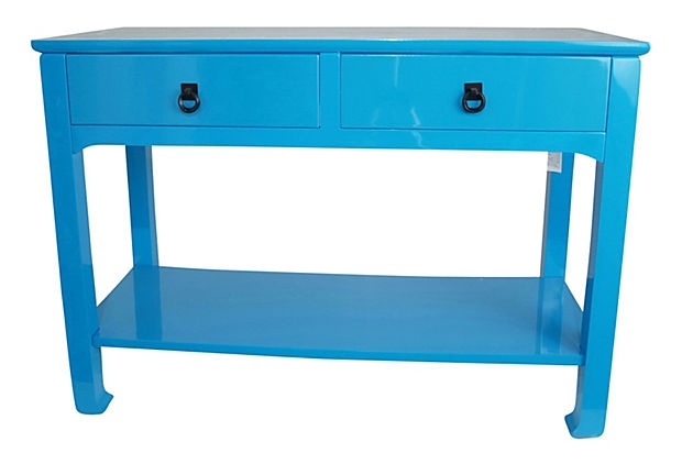 Lola Double Drawer Table, Glossy Blue on OneKingsLane.com
