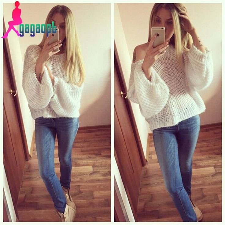 Scoop Loose Pullover Pure Color Sexy Sweater