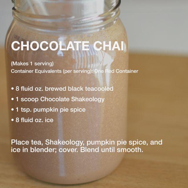 chocolate chai shakeology recipe