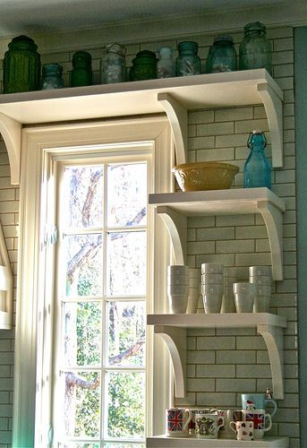 Love the tile  These are the shelves we should add next to the kitchen window and stretch over above the window to the cabinet