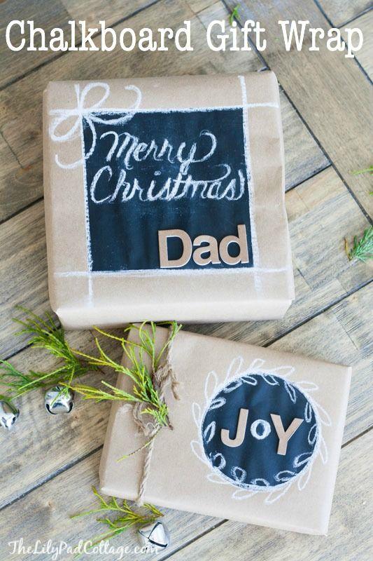 DIY Chalkboard Gift Wrap - how cute!