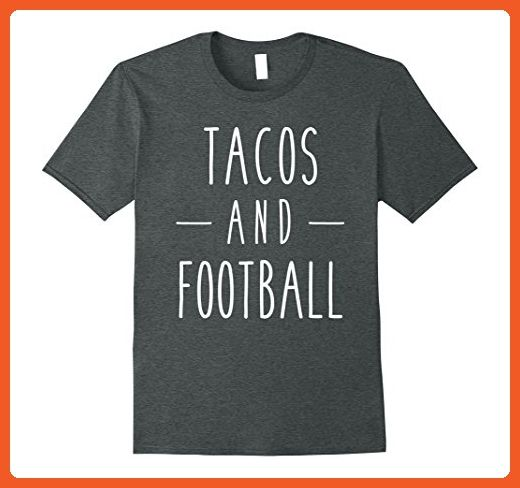 Mens Tacos and Football Funny Food Sports Eating Tee Small Dark Heather - Sports shirts (*Partner-Link)