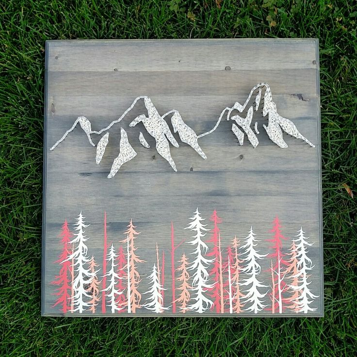 Mountain Range String Art Home Décor.   Mountain | Art | String Art | Mountain String Art | Home Decor | Evergreens | Gift | Etsy