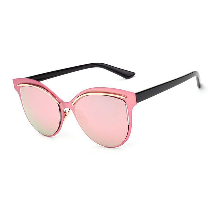 Jerika is perfect for the hot summer months. She features a mirrored pink polycarbonate lens, with a pink polycarbonate cat-eye frame, a gold trim on the frame, and black curved arms. Finished with 10