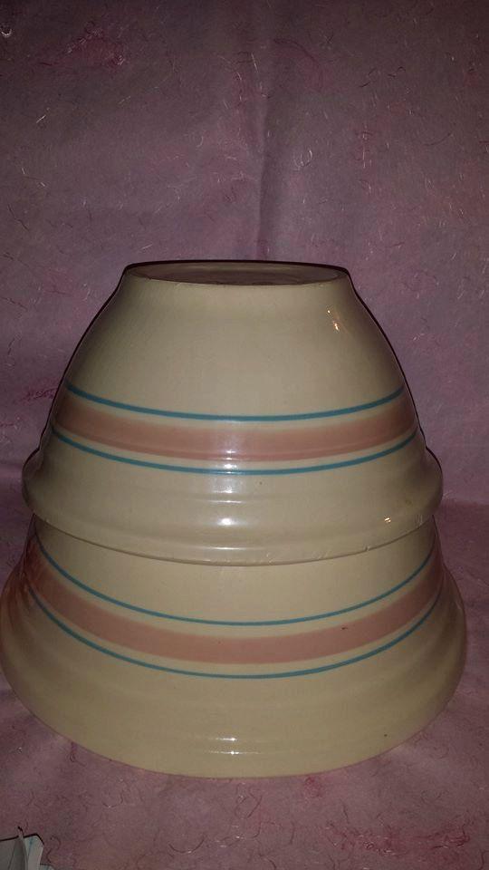 $80--Vintage McCoy Pottery Bowl  #12 and Bowl  #10, McCoy Mixing Bowl,Stonecraft, USA, McCoy Pottery Pink Blue Nesting Bowls, McCoy Ovenware by JunkYardBlonde on Etsy