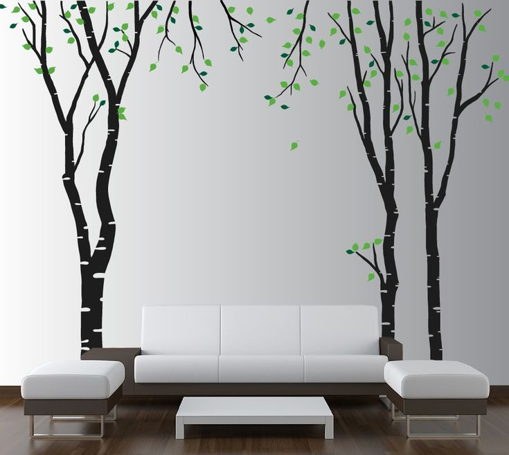 Large Wall Birch Tree Decal Forest Kids Vinyl Sticker Removable With Leaves  Branches #1119 Part 79