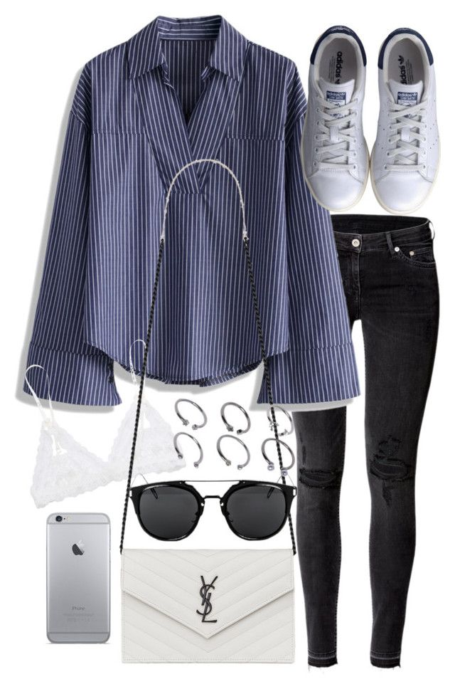 """""""Untitled #19745"""" by florencia95 ❤ liked on Polyvore featuring H&M, Chicwish, Hanky Panky, Yves Saint Laurent, ASOS and adidas"""