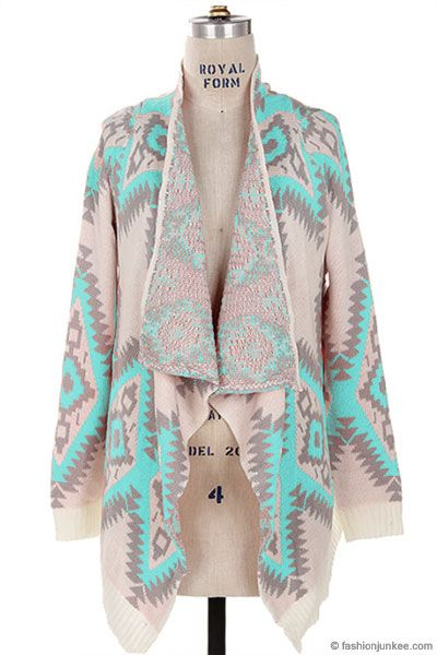 Thick Geometric Tribal Aztec Print Open Front Cardigan Jacket-Mint, Ivory & Grey