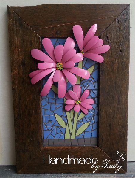 Pink Flowers Framed Mosaic